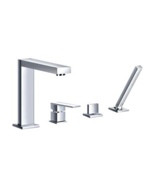 4-hole deck mounted Bathtub mixers with Mixers with pull ...