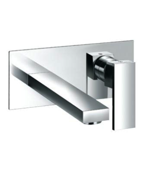 Single Lever Wall Type Basin Mixer With Wall Plate